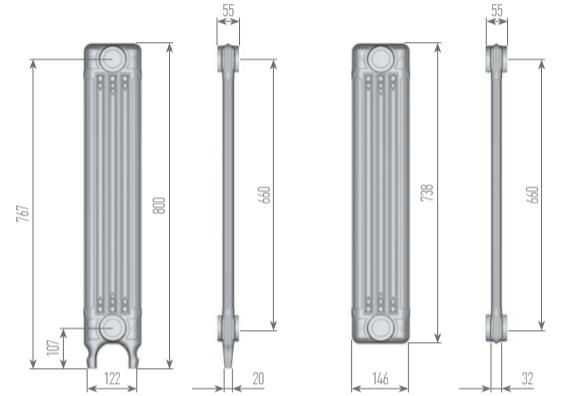 Чертеж секций радиатора EXEMET ARDECO 800/660