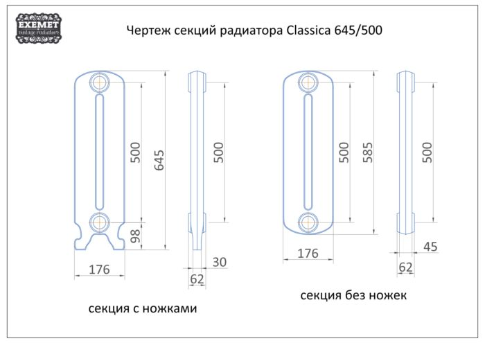 Чугунный радиатор Exemet Classica - чертеж