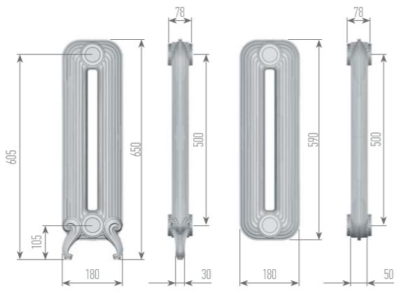 Чертеж секций радиатора EXEMET DETROIT 650/500
