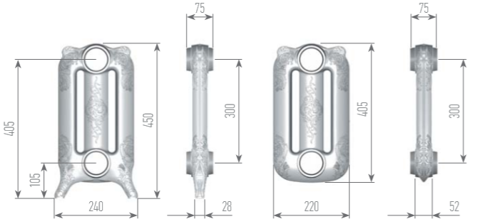 Чертеж секций радиатора EXEMET MIRABELLA 450/300