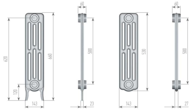 Чертеж секций радиатора EXEMET NEO 4-660/500