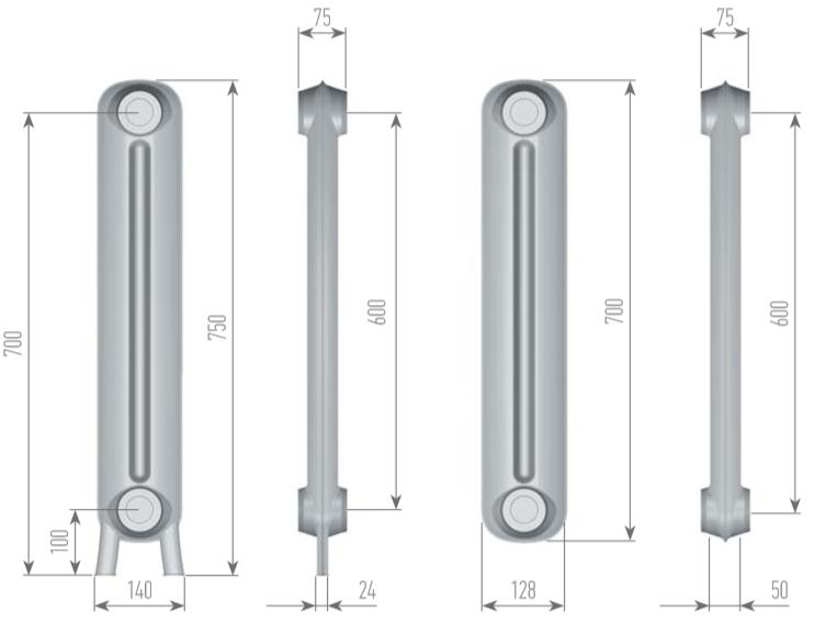 Чертеж секций радиатора EXEMET PRINCE 750/600