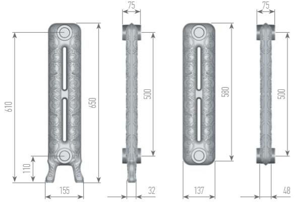 Чертеж секций радиатора EXEMET VENERA 650/500