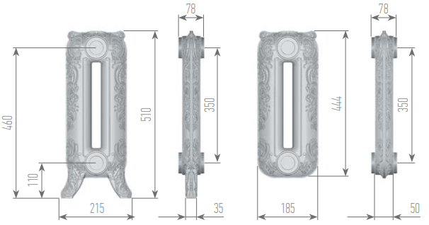 Чертеж секций радиатора Romantica 510/350