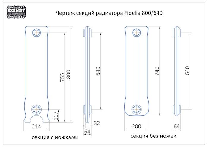 Чертеж секций радиатора EXEMET Fidelia 800/640