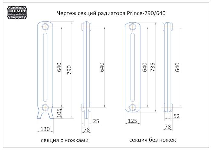 Чертеж секций радиатора EXEMET Prince