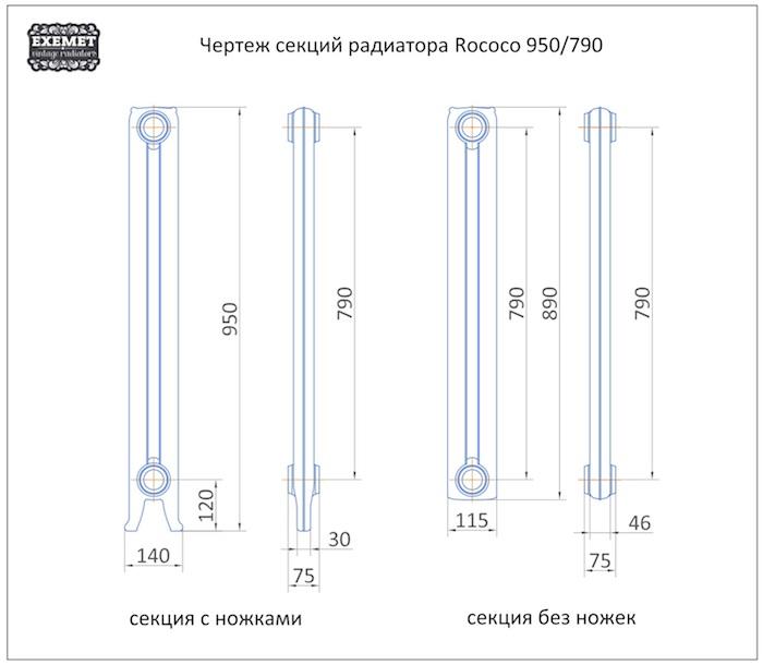 Чертеж секций радиатора EXEMET Rococo
