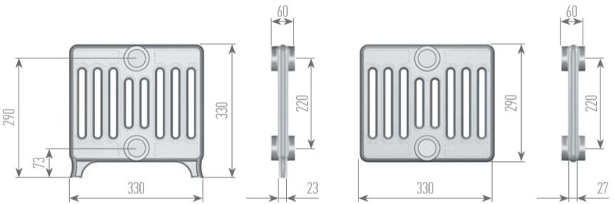 Чертеж секций радиатора EXEMET NEO 9-330/220