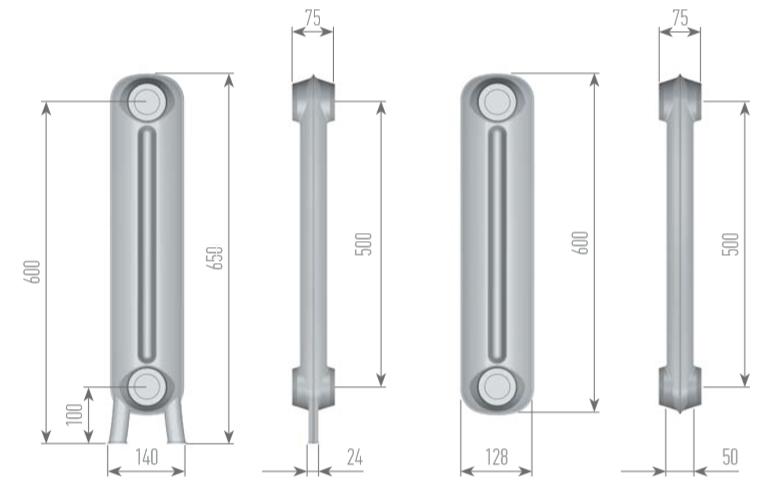 Чертеж секций радиатора EXEMET PRINCE 650/500