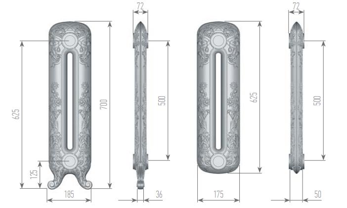 Чертеж секций радиатора EXEMET MAGICA 700/500