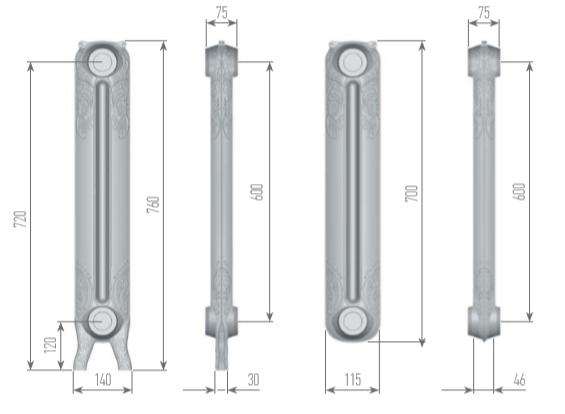 Чертеж секций радиатора EXEMET ROCOCO 760/600