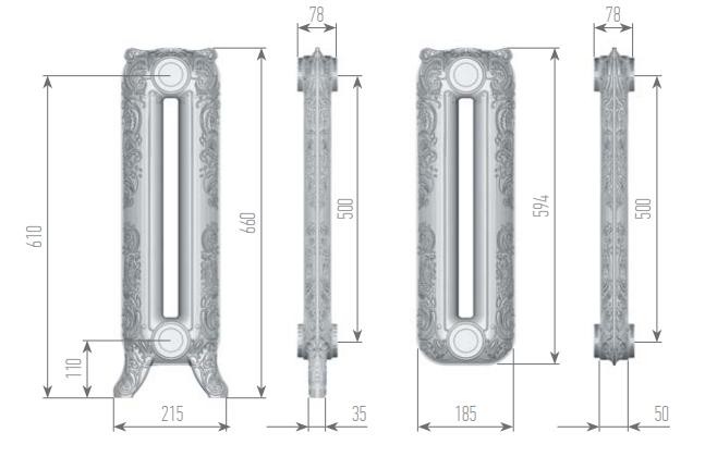 Чертеж секций радиатора Romantica 660/500