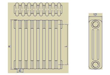 Стальные трубчатые радиаторы IRSAP Tesi3 чертёж