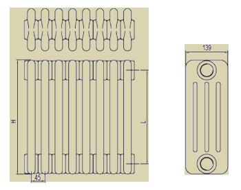 Стальные трубчатые радиаторы IRSAP Tesi4 чертёж