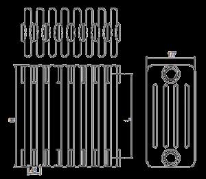 Стальные трубчатые радиаторы IRSAP Tesi5 чертёж