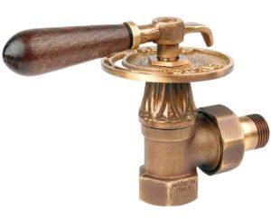"""Вентиль Carlo Poletti Classic-Аrt верхний с американкой деревянной ручкой, для стальной трубы 1/2"""" угловой Бронза, арт. V673L10MA"""