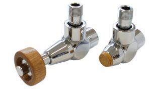 Комплект SCHLOSSER PRESTIGE, угловой (корпус клапанов Exclusive, термостатическая головка с круглой деревянной рукояткой)