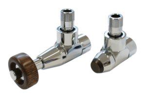 Комплект SCHLOSSER PRESTIGE, угловой (корпус клапанов LUX, термостатическая головка с круглой деревянной рукояткой)
