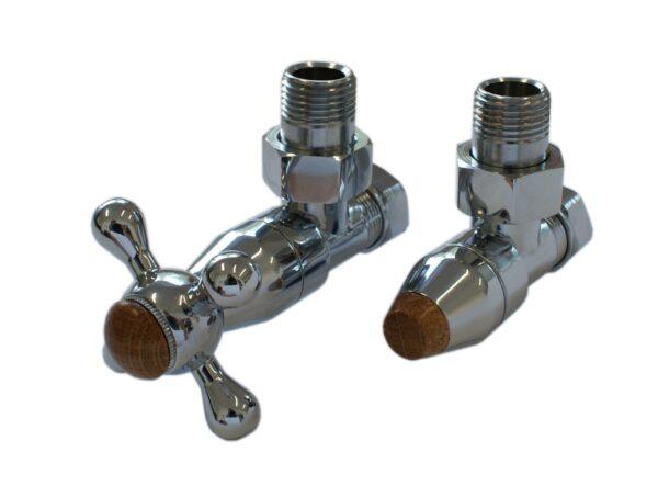 Комплект клапанов с ручной регулировкой SCHLOSSER Elegant Style (хром угловой с деревом)