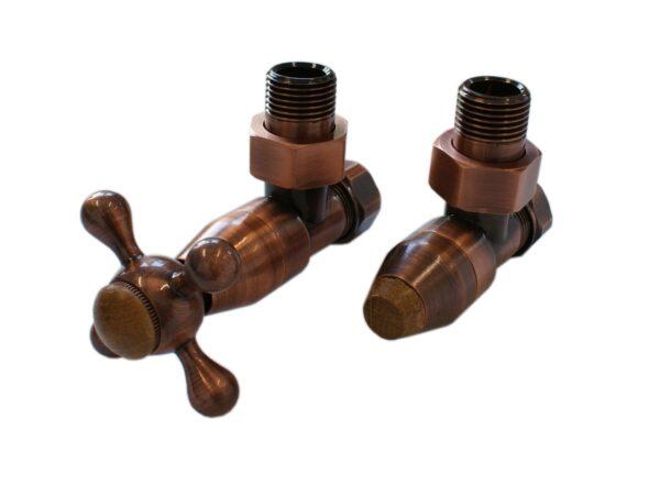 Комплект клапанов с ручной регулировкой SCHLOSSER Elegant Style (античная медь угловой с деревом)