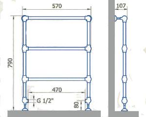 Чертеж полотенцесушителя EXEMET CLIO 790/570