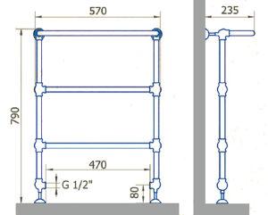 Чертеж полотенцесушителя EXEMET CLIO U 790/570