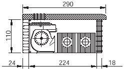 Встраиваемый в подоконник конвектор EVA COIL-KBP (поперечный разрез)