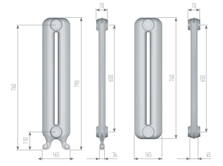 Чертеж секций радиатора EXEMET QUEEN 790/650