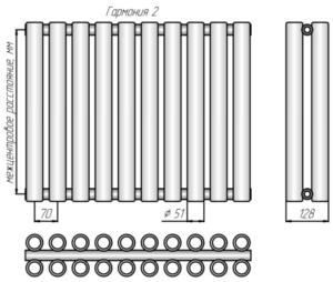 Схематичное изображение с указанием размеров Гармония-2