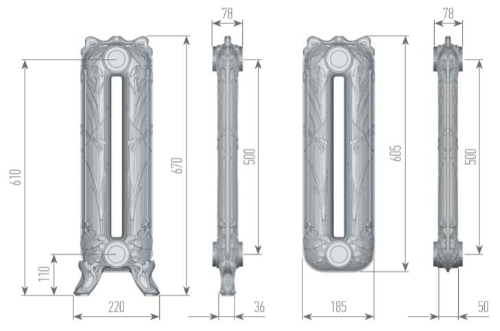 Чертеж секций радиатора EXEMET POND 670/500