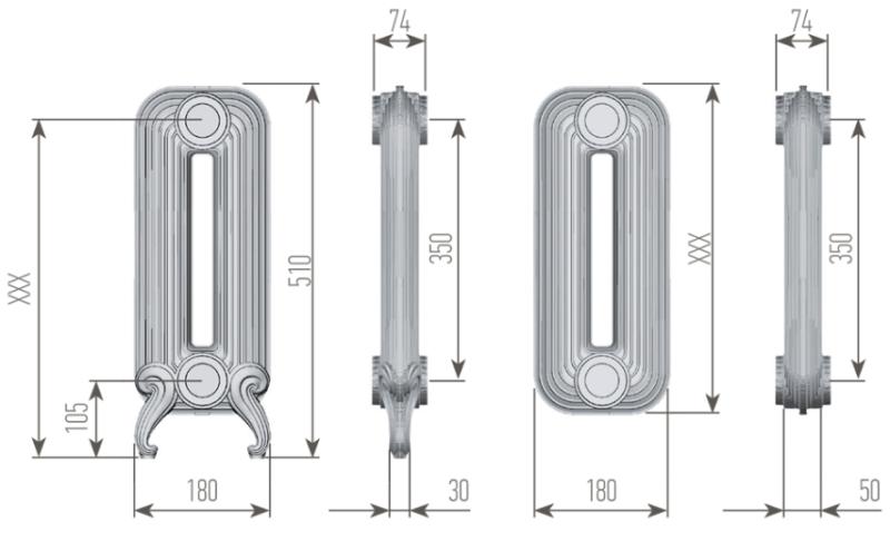 Чертеж секций радиатора EXEMET DETROIT 500/350