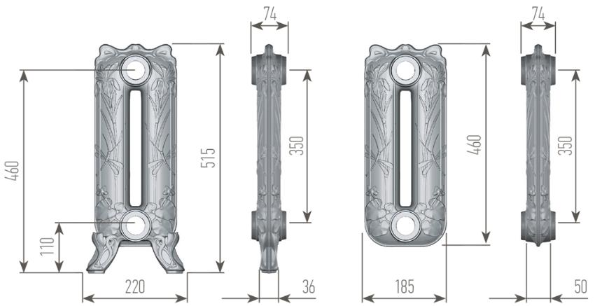 Чертеж секций радиатора EXEMET POND 515/350
